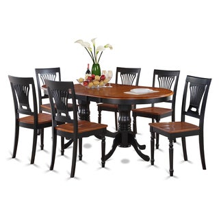 Traditional Black Finish Solid Rubberwood 7-Piece Dining Set with Plainville Table and Six Chairs