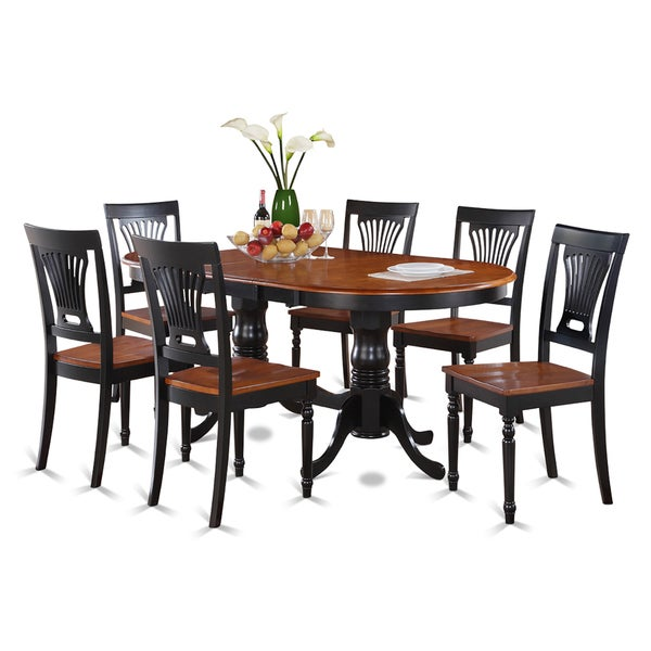 Traditional Black Finish Solid Rubberwood 7 Piece Dining Set With  Plainville Table And Six Chairs