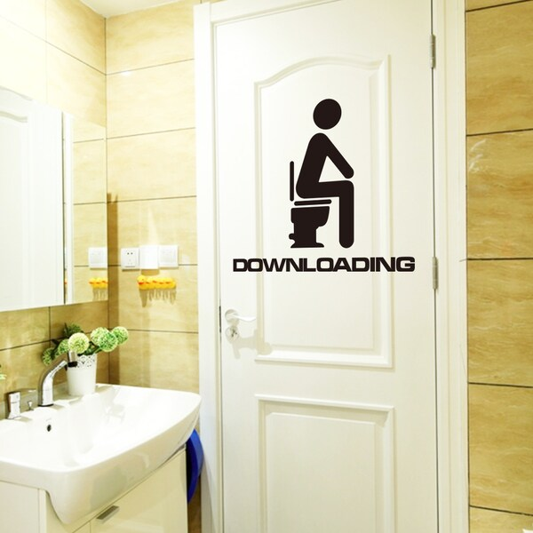 HomeSource Downloading Toilet Multicolor 4-inch x 6-inch Removable Wall Graphic