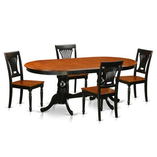 Cherry And Black Rubberwood 5-piece Dining Table Set
