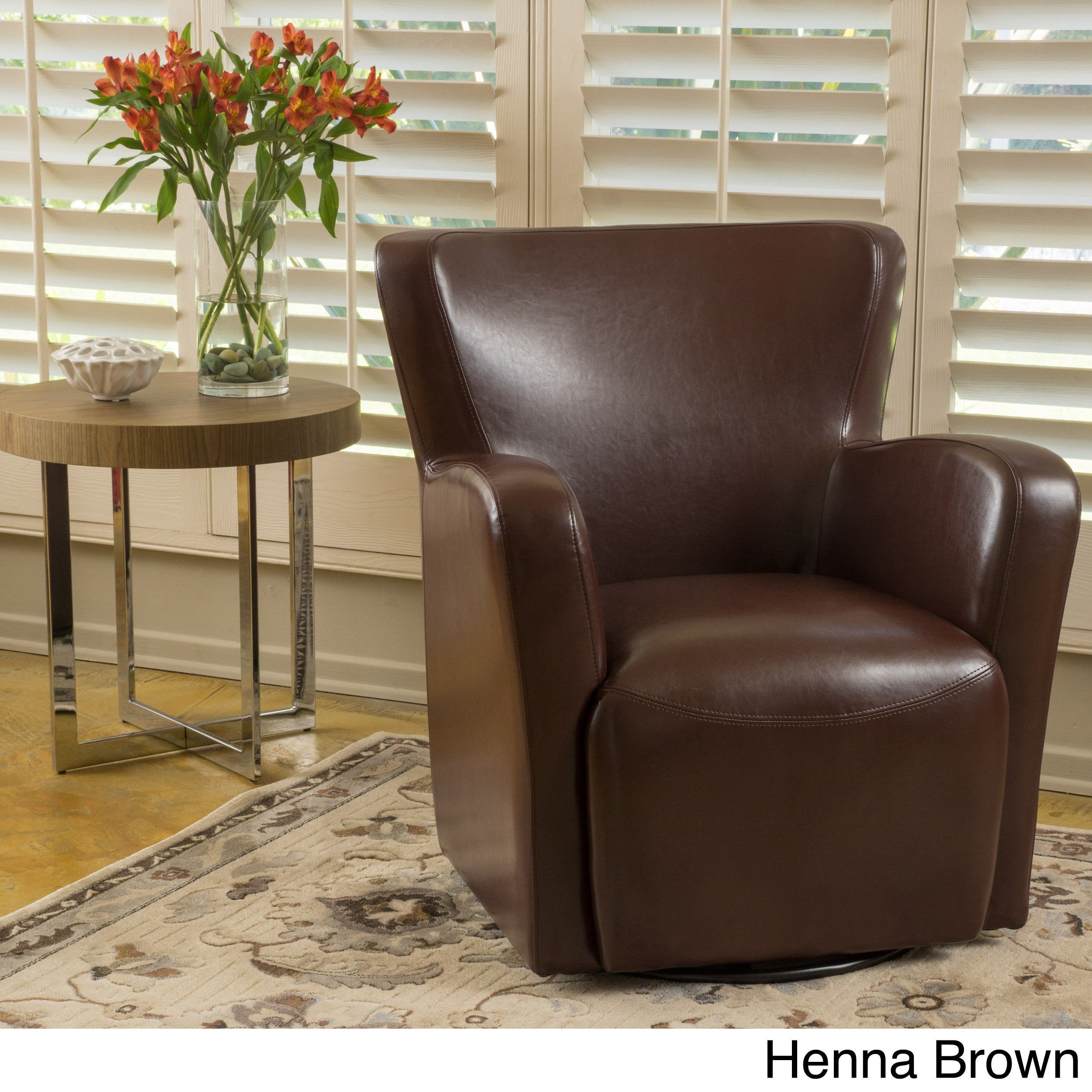 Picture of: Angelo Bonded Leather Wingback Swivel Club Chair By Christopher Knight Home Overstock 12027364 Dark Brown
