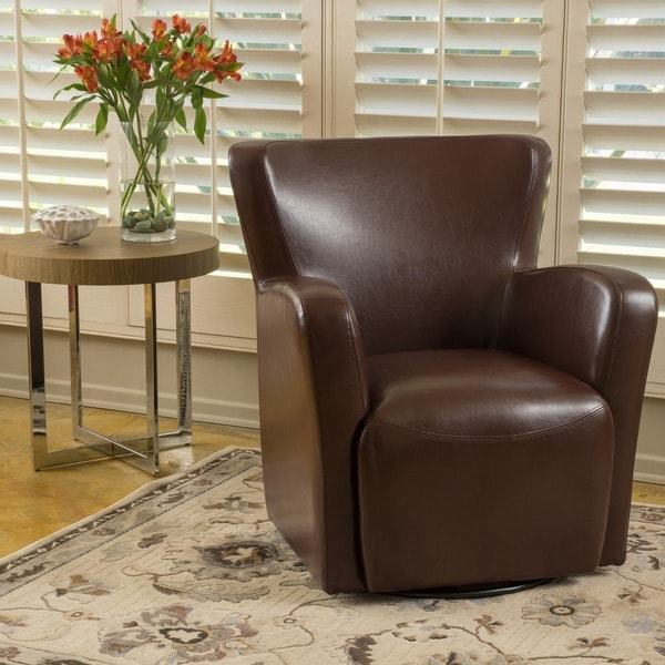 Attrayant Angelo Bonded Leather Wingback Swivel Club Chair By Christopher Knight Home