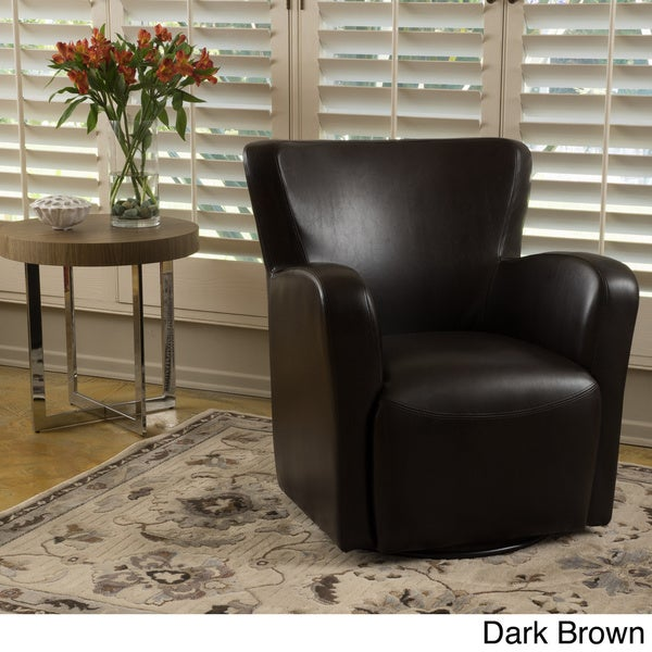 Angelo Bonded Leather Wingback Swivel Club Chair by Christopher ...