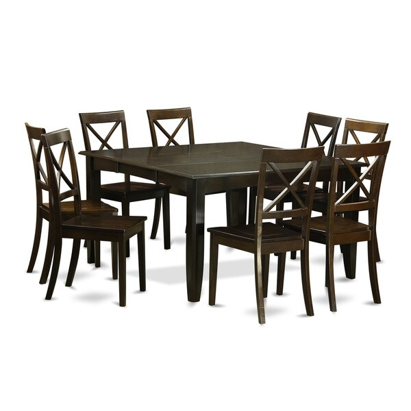 9 Piece Solid Wood Dining Set With Table And 8 Chairs: Traditional Black Finish Solid Rubberwood 9-Piece Dining