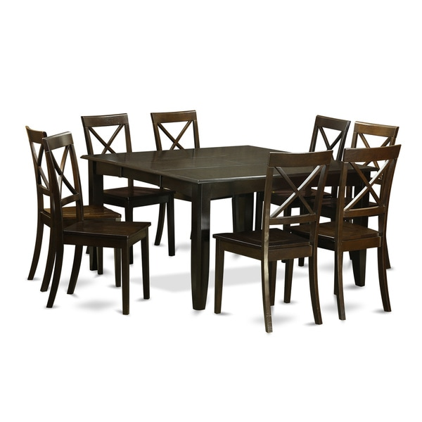Traditional Black Finish Solid Rubberwood 9-Piece Dining Set with Parfait Table and Eight Boston Chairs