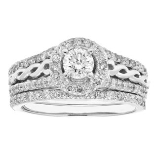Sofia 14K White Gold 1-carat Total Diamond Weight IGL-Certified Round-cut Bridal Set