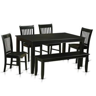 DUNO6 Black Rubberwood 6-piece Dining Room Set with Bench