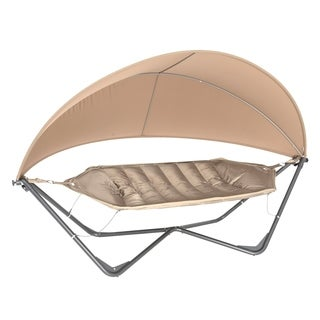 TrueShade Plus Tan Steel Frame 11' x 5' Gondola Hammock and Cover