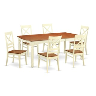 Cream-colored White Rubberwood 7-piece Dining Room Set
