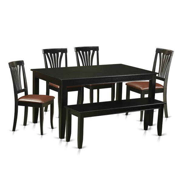 Kitchen Kitchen Table Sets With Bench And Chairs Corner: DUAV6-BLK Black Rubberwood 6-piece Kitchen Nook Dining Set