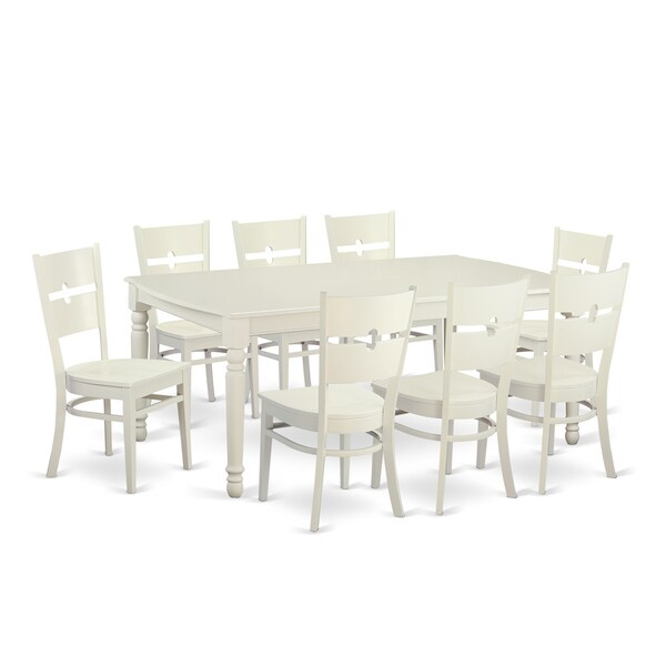 9 Piece Solid Wood Dining Set With Table And 8 Chairs: Shop Traditional White Finish Solid Rubberwood 9-piece