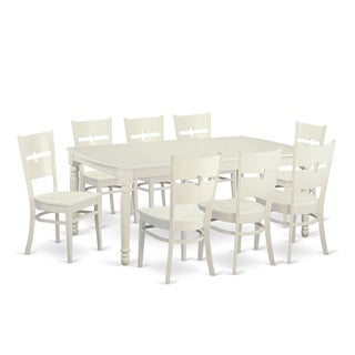 Traditional White Finish Solid Rubberwood 9-piece Dining Set with Dover Table and Rockville Chairs