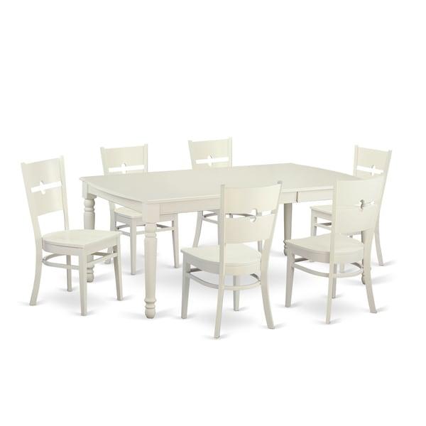 Archibald 7 Piece White Dining Set: Shop DORO7-LWH-W White Rubberwood 7-piece Dining Room Set