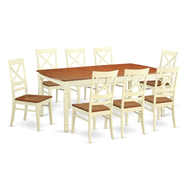 Doqu9 cream cherry wood 9 piece dining room set free for Cherry wood dining room set