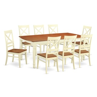 DOQU9 Cream/Cherry Wood 9-piece Dining Room Set