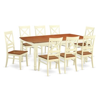 DOQU9 Cream/Cherry Wood 9 Piece Dining Room Set