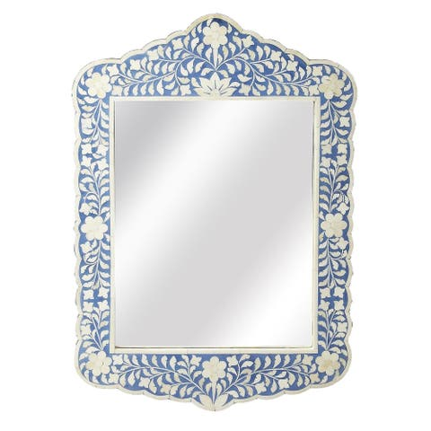 Handmade Butler Blue and White Bone Inlay Wall Mirror (India) - Blue/Antique White