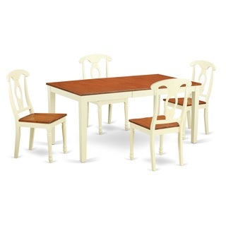 Traditional White Finish Solid Rubberwood 5-Piece Dining Set with Nicoli Table and Four Kenley Chairs