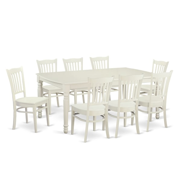 Contemporary White Solid Rubberwood 9 Piece Dining Set With Dover Table And  Eight Groton Chairs