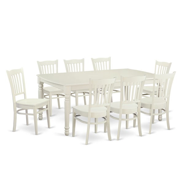 Casual Contemporary Dark Wood Dining Table Chairs Dining: Shop Contemporary White Solid Rubberwood 9-Piece Dining