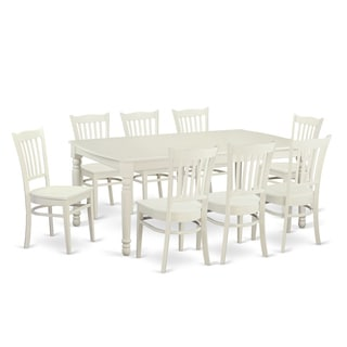 Contemporary White Solid Rubberwood 9-Piece Dining Set with Dover Table and Eight Groton Chairs