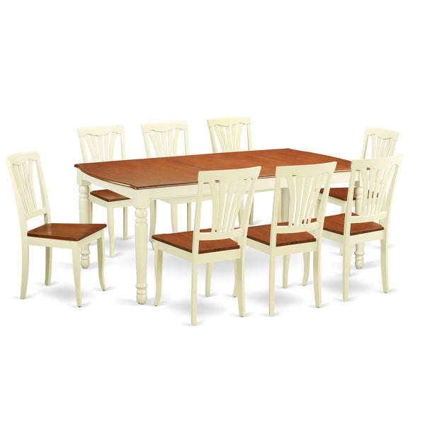 9 Piece Dining Room Table Sets: Shop DOAV9-WHI Cream/Cherry Rubberwood 9-piece Dining Room Table Set