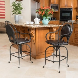 Christopher Knight Home Thea Swivel Bonded Leather Armed Barstool (Set of 2)