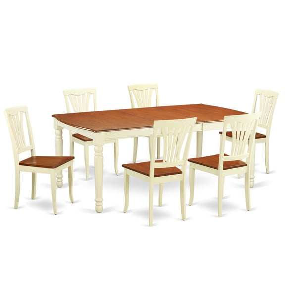 Doav7 whi w 7 piece dinette table set with kitchen dinette for Kitchen table set 7 piece