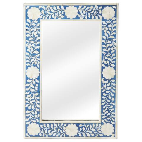 Handmade Butler Olivia Blue Bone Inlay Wall Mirror (India) - Blue/Antique White