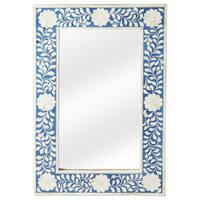 Butler Olivia Blue Bone Inlay Wall Mirror - Blue/Antique White - N/A
