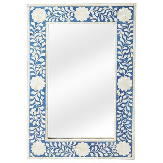 Butler Olivia Blue Bone Inlay Wall Mirror - Blue/Antique White - N/A