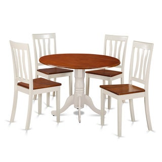 Dublin Dining Set with 5 Pieces with 4 Solid Wood Chairs in Buttermilk Finish
