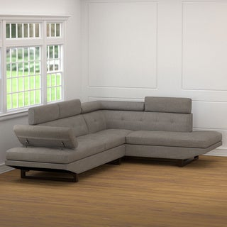 Handy Living Fontaine Dove Grey Linen 2 Piece Sectional