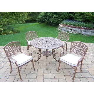 Explorer Cast Aluminum 5-piece Dining Set with 42-inch Round Table and 4 Cushioned Stackable Arm Chairs
