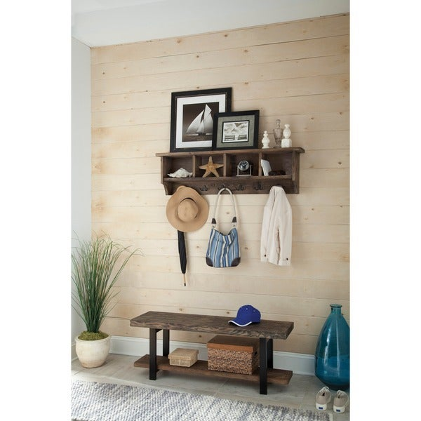 pomona 48 inch metal and reclaimed wood storage coat hook with bench - Coat Hooks With Storage