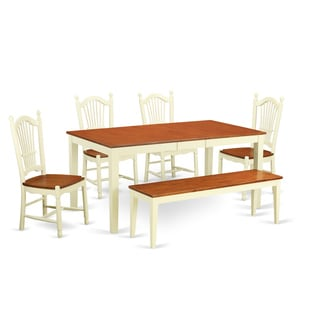 Cream/Cherry Two-tone Rubberwood 6-piece Kitchen Dining Set with Bench and Chair Seating