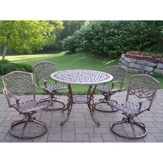 Explorer Cast Aluminum 5-piece Swivel Rocker Dining Set with 42-inch Round Table and 4 Swivel Rockers