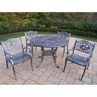 Dakota Cast Aluminum 5-piece Dining Set, with 42-inch Table, and 4 Arm Chairs