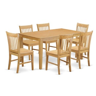 Oak Finish Rubberwood 7-piece Dining Room Set with Dining Table, and 6 Chairs