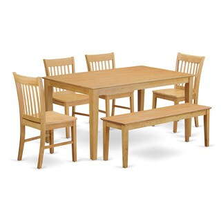 Oak Finish Rubberwood 6-piece Dining Room Set with Dining Table, 4 Chairs, and 1 Bench