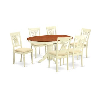 AVPL7 Cream/Off-white Rubberwood 7-piece Dinette Set