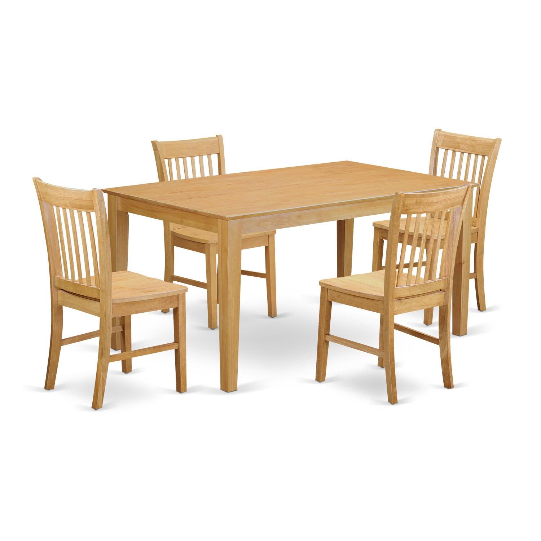 Traditional Oak Finish Solid Rubberwood 5-Piece Dining Se...