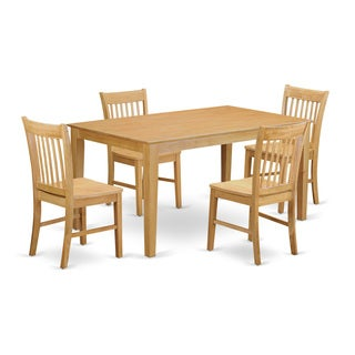 Traditional Oak Finish Solid Rubberwood 5-Piece Dining Set with Capri Table and Four Norfolk Chairs
