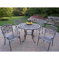 Cast Aluminum 5 pc Dining set with Table and 4 Stackable Arm Chairs