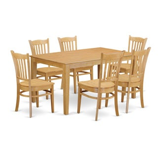 Oak Finish Solid Rubberwood 7-Piece Dining Set With Capri Table and 6 Chairs