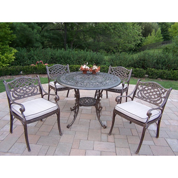 5 Piece Dining Set, With 42 Inch Table, And 4 Cushioned Chairs