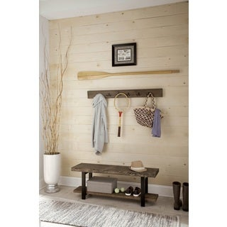 Pomona Metal and Reclaimed Wood 48-inch Wall Coat Hook With Bench