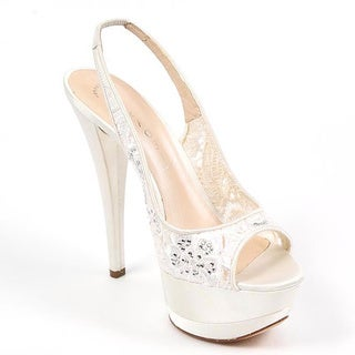 Casadei Women's White Fabric Peep Toe Heels