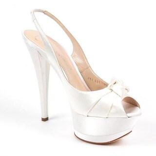 Casadei Women's White Fabric Slingback Heels