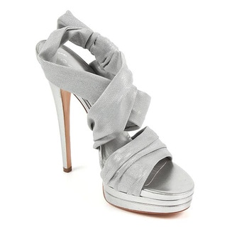 Casadei Women's Silver Leather Strappy Heels
